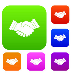 business handshake set collection vector image