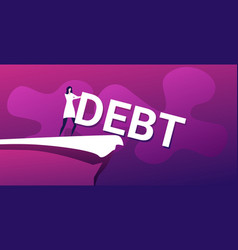 Businesswoman pushing debt word into abyss vector