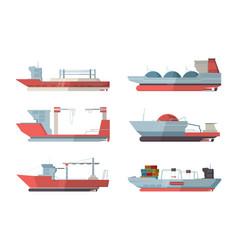 Cargo ship marine vessel ocean ship with crane vector