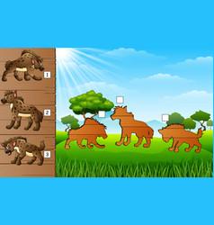 cartoon hyena collection set find the correct sha vector image