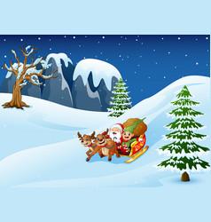 cartoon santa claus with el vector image