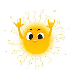 cartoon sun showing rock sign icon vector image