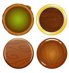 cartoon wooden round game icons vector image