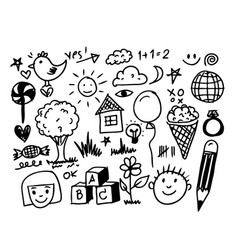 children hand draw doodle icon vector image