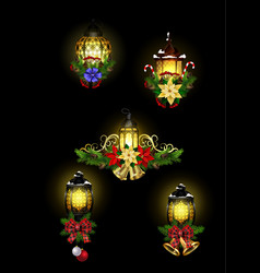 christmas decoration with street light cpllection vector image