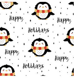 christmas seamless pattern with owls vector image