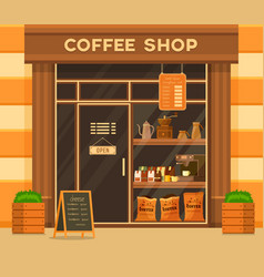 coffee shop or cafe exterior glass showcase vector image
