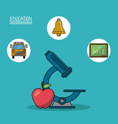 Colorful poster of education with microscope and vector