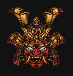 Colorful scary samurai warrior mask concept vector