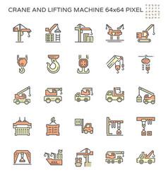 crane and lifting machine icon set 64x64 pixel vector image