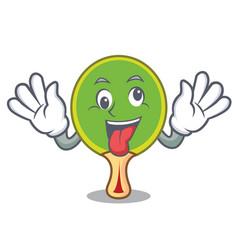 Crazy ping pong racket mascot cartoon vector