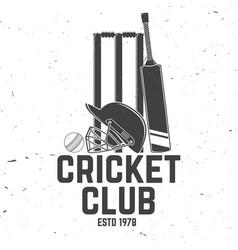 Cricket club badge concept for shirt vector