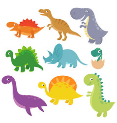 Cute baby dino characters isolated vector