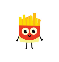 cute flar french fries character icon vector image