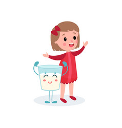 cute girl playing with humanized glass of milk vector image