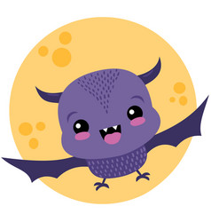 Cute purple bat and moon halloween vector
