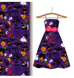 Dress fabric with colorful halloween pattern vector