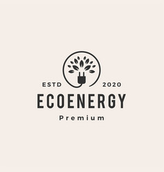 Eco energy hipster vintage logo icon vector