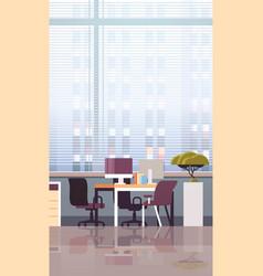 Empty workplace office desk with desktop computer vector