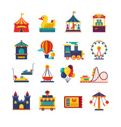 Fairground games and amusement park flat vector