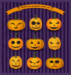 festive halloween pumpkins collection vector image