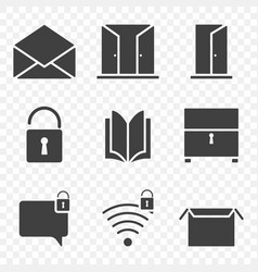 filled icons of open objects image on a vector image