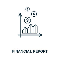 financial report icon line style icon design from vector image