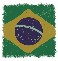 Flag of Brazil handmade square shape vector image