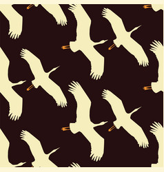 flying cranes seamless pattern vector image