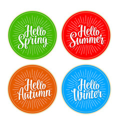 four seasons stickers set hello winter spring vector image
