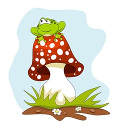 Frog Sitting on a Mushroom Cartoon vector
