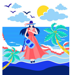 girl holding backpack on the beach vector image