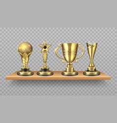 golden trophy realistic bookshelf with sport vector image