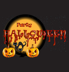 halloween pumpkin cats party background vector image