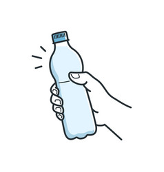 Hand hold water bottle male hand holding plastic vector
