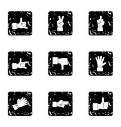 Hand icons set grunge style vector image