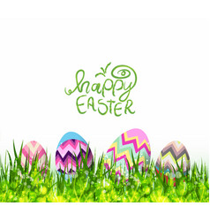 Happy easter hello spring background with grass vector