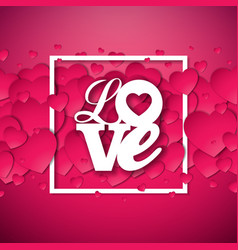 Happy valentines day with red hearth vector