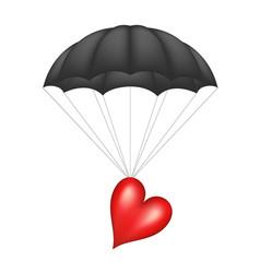 Heart at black parachute vector