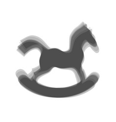 Horse toy sign gray icon shaked at white vector