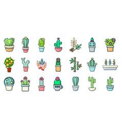 house plant icon set cartoon style vector image