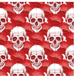 human skull sketch and red flowers seamless vector image