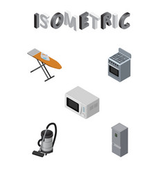 Isometric appliance set of microwave cloth iron vector
