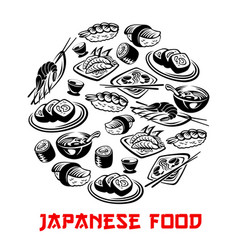 Japanese food poster and sushi and rolls vector