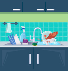 Kitchen sink dirty dishes background with plates vector