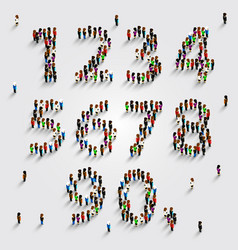 Large group of people in number set form vector