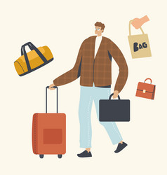 male character with briefcase and luggage in hands vector image