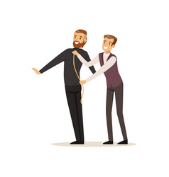 Male dressmaker taking measurements from young man vector