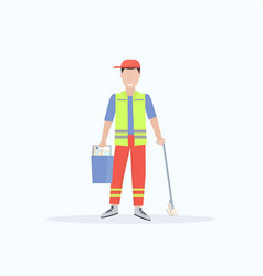 man cleaner in uniform holding bucket with vector image