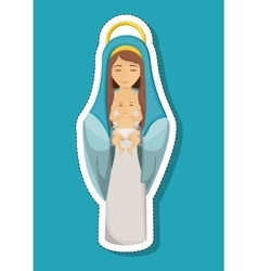 Mary cartoon and baby of holy night design vector